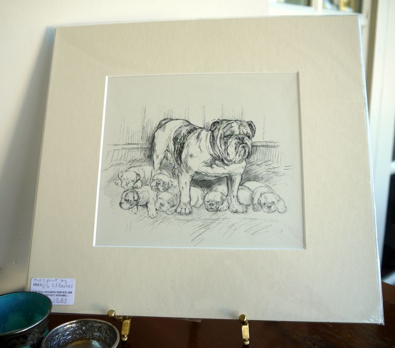 Bulldog Mother And Puppies 1940 S Print By K F Barker