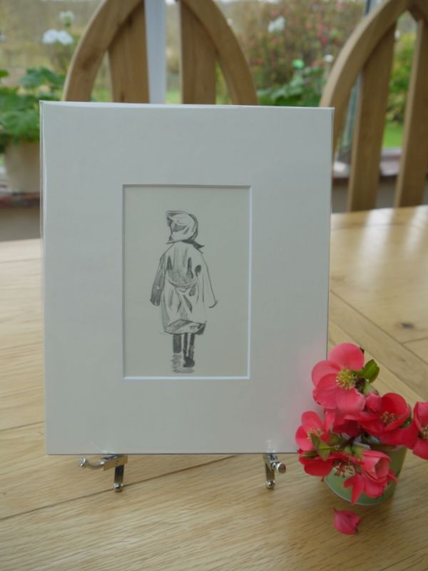 Small child in hat & mackintosh - JHD 96